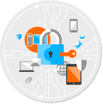 lock and key surrounded by devices to suggest data security