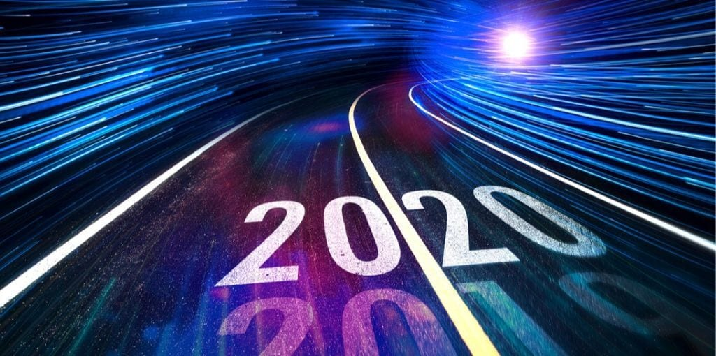 roadway with new decade 2020 on it