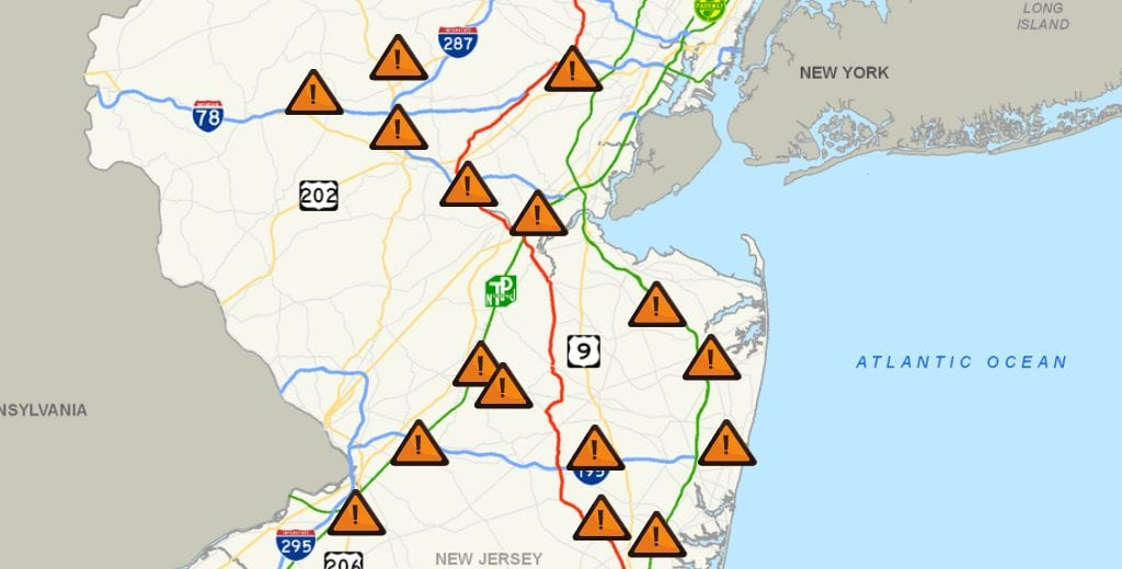 NJ highway map with warnings