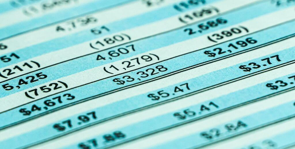 close up of a financial statement