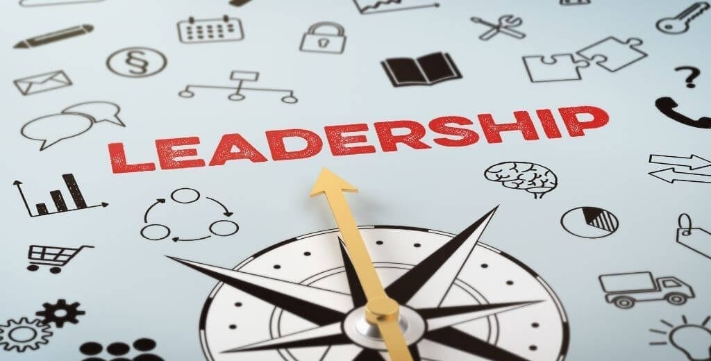 a compass on top of graphic of business icons and the word Leadership