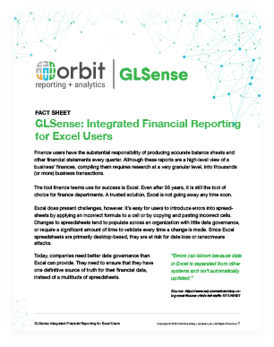 GLSense: Integrated Financial Reporting for Excel Users
