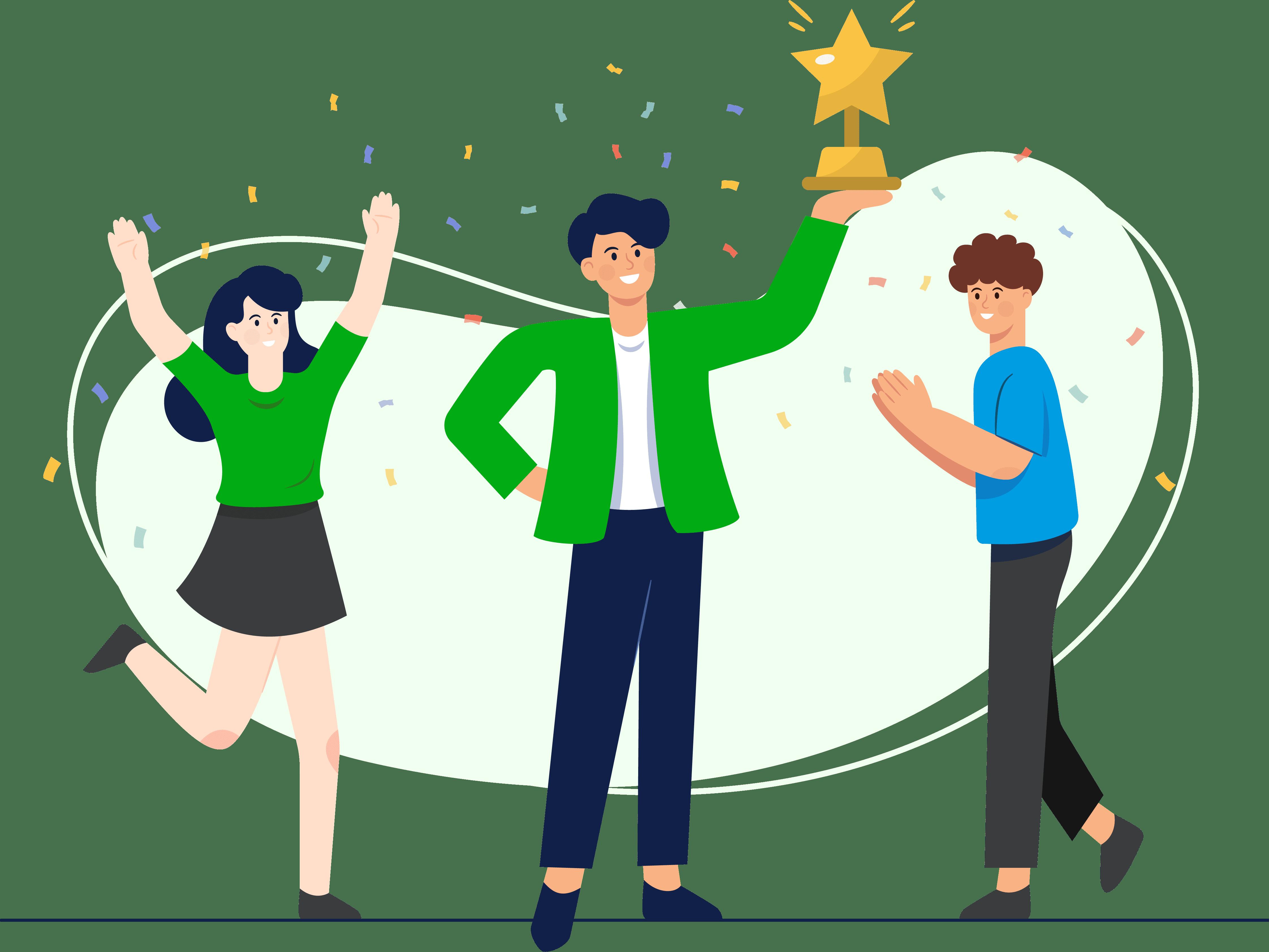 Winning an award illustration